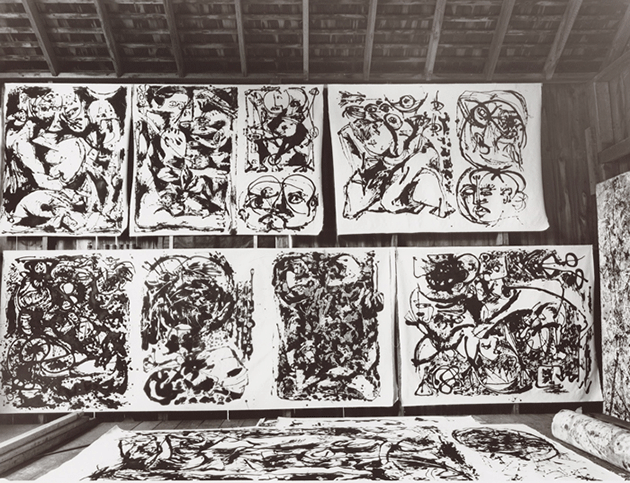The 'black paintings' in Jackson Pollock's studio, 1950. Photograph by Hans Namuth. Courtesy Center for Creative Photography, University of Arizona © 1991 Hans Namuth Estate. (paintings Number 8, Number 9, Number 22 and Number 27 in this photograph were made into prints)