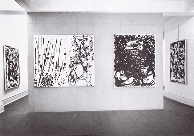 Installation view of Betty Parsons, 1951 (from left to right Number 16, Number 7, Number 23, and Number 9). Photograph by Hans Namuth. Courtesy Center for Creative Photography, University of Arizona © 1991 Hans Namuth Estate.