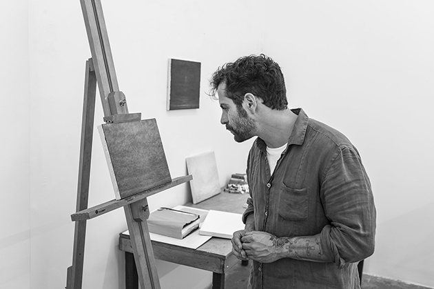 Lucas Arruda painting in his studio. Image: © David Zwirner.