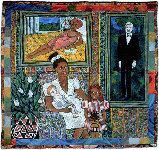 Faith Raingold, A Family Portrait, 1997, acrylic on canvas, painted and pieced border, private collection.  Image: © Fred Scruton. © Faith Ringgold / ARS, NY and DACS, London, Courtesy ACA Galleries, New York 2021.