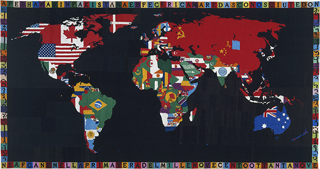 Alighiero Boetti,Map of the World, 1989, embroidery on fabric, Museum of Modern Art, New York. Image: The Museum of Modern Art, New York/Scala, Florence.  Anatsui's Preferred Material