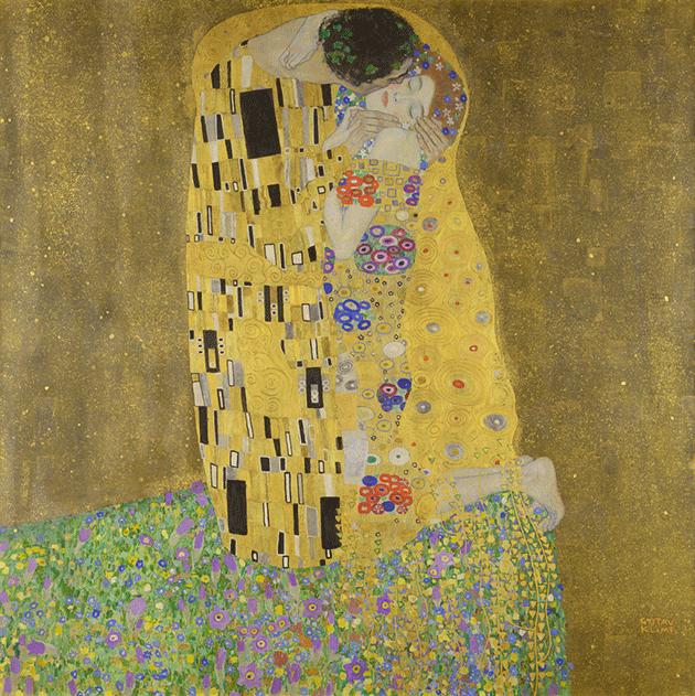 Gustav Klimt, The Kiss, 1907-1908, oil on canvas, Osterreichische Galerie Belvedere, Vienna.  Image: Bridgeman Images.