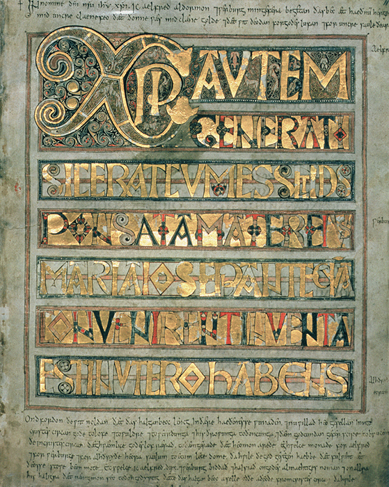 Ms A 135 f.11r Illuminated text, initial page `Xpi' to St. Matthew, from the Stockholm Codex Aureus, c.750 (vellum). Image: Bridegman Images.