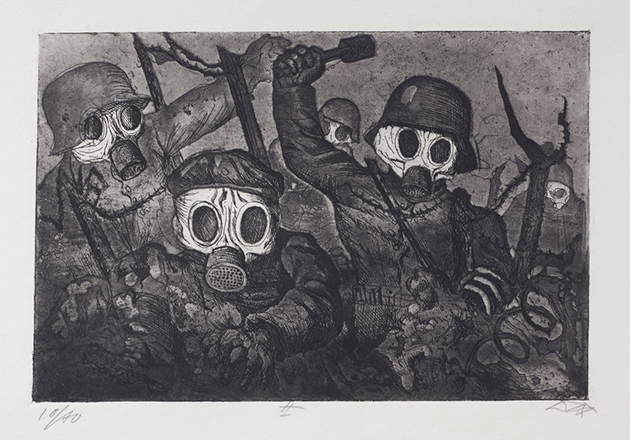 Otto Dix, Stormtroops advancing under gas, 1924, etching  and aquatint, Leicester Museum and Art Gallery, United Kingdom. Image: Bridgeman Images. © DACS 2021.