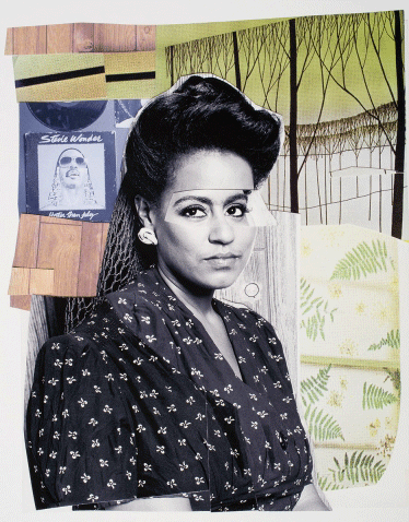 Mickalene Thomas, Clarivel with Black Blouse with White Ribbon, 2016. Museum purchase, The Nancy Gray Sherrill '54 Collection Acquisition Fund 2017. Photo ©2019 Mickalene Thomas/Artists Rights Society (ARS), New York.