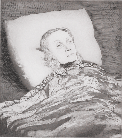 John Currin, Girl in Bed, 2006, etching, aquatint and drypoint on paper, Tate, London.  Image: © Tate.