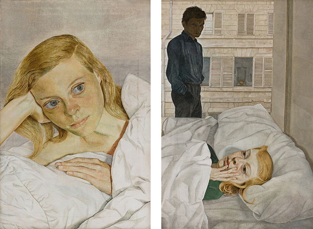 Right: Lucian Freud, Girl in Bed, 1952, oil on canvas, Private Collection. Image: Brideman Images.