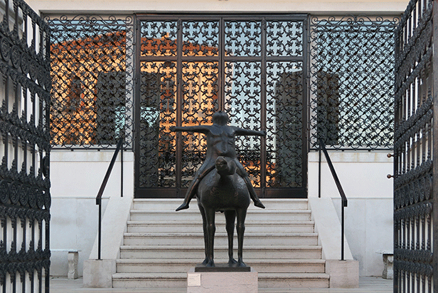 Marino Marini sculpture at the Peggy Guggenheim Collection, Venice Italy, November 2015. Image: Archimage / Alamy Stock. Photo. © DACS 2021.