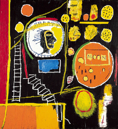 Jean Michel Basquiat, Moon View, 1984, acrylic and oil stick on canvas, The Broad Art Foundation, California.  Image: © 2021. Adagp Images, Paris, / SCALA, Florence. © The Estate of Jean-Michel Basquiat / ADAGP, Paris and DACS, London 2021.