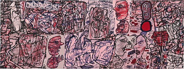 Jean Dubuffet, Convergences, 1976, vinyl paint and cut-and-pasted paper mounted on canvas, Museum of Modern Art, New York.  © 2021. Digital image, The Museum of Modern Art, New York/Scala, Florence. © ADAGP, Paris and DACS, London 2021.