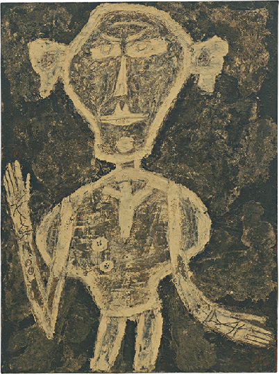 Jean Dubuffet, Portrait of Henri Michaux, 1947, oil on canvas, Museum of Modern Art, New York. Image: © 2021. Digital image, The Museum of Modern Art, New York/Scala, Florence. © ADAGP, Paris and DACS, London 2021.