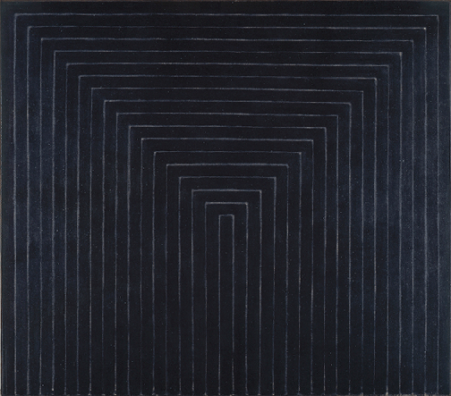 Frank Stella, Getty Tomb, 1959, black enamel on canvas, Los Angeles County Museum of Art, Los Angeles. Image: Museum Associates/LACMA/Art Resource NY/Scala, Florence. © Frank Stella. ARS, NY and DACS, London 2021.