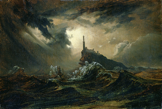 Karl Blechen, Stormy sea with Lighthouse, c.1826, oil on canvas, Hamburger Kunsthalle, Germany. Image: Bridgeman Images.