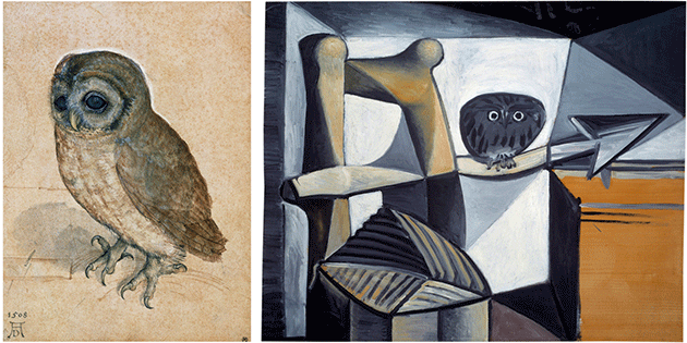 Pablo Picasso, Owl in an interior, 1946, oil on counterplate, Musee Picasso, Paris. Image: Bridgeman Images. © Succession Picasso/DACS, London 2021.