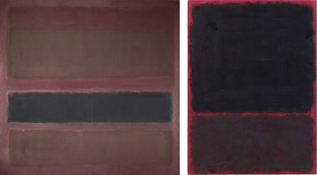 Left: Mark Rothko, No. 18 (Brown and Black on Plum), 1958, oil on canvas, Private Collection. Image: Bridgeman Images. © 1998 Kate Rothko Prizel & Christopher Rothko ARS, NY and DACS, London. Right: Mark Rothko, Untitled, 1967, acrylic on paper, mounted on masonite, Metropolitain Museum of Art, New York. Image: Scala, Florence. © 2021 Kate Rothko Prizel & Christopher Rothko ARS, NY and DACS, London.