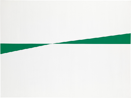 Carmen Herrera, White and Green, 1959, acrylic paint on canvas, Tate, London.  Image: © Tate. © Carmen Herrera.