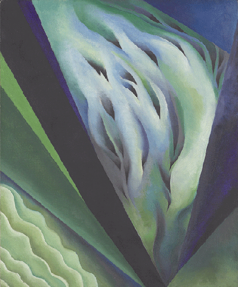 Georgia O'Keeffe, Blue and Green Music, 1919-1921, oil on canvas, The Art Institue of Chicago, US.   Image: Bridgeman Images.