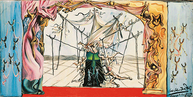 Salvador Dali, Design for the set of Romeo and Juliet: Backdrops and Wing Flats, 1942. Image: Christie's Images/Bridgeman Images © Salvador Dali, Fundació Gala-Salvador Dalí, DACS 2021