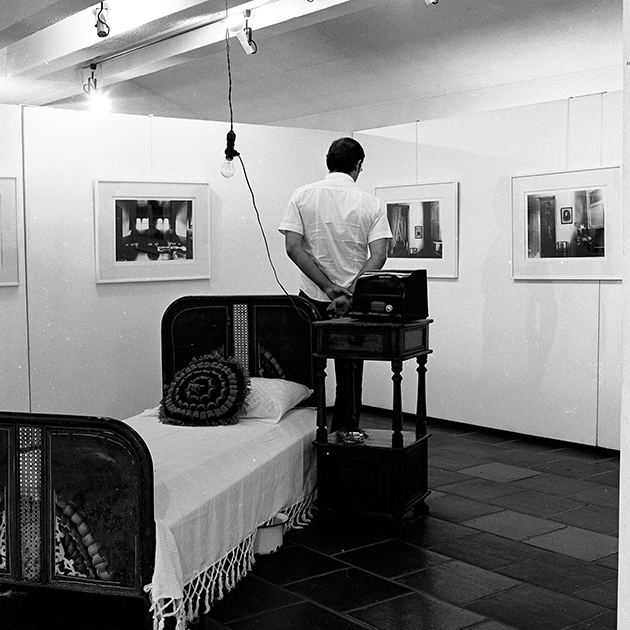 1979 exhibition install of Ever Astudillo, Ferrell Franco, Oscar Muñoz, showing the offered Interiores image, at Museo La Tertulia, Cali, Colombia © Fundación Fernell Franco