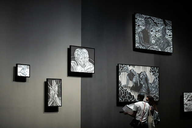 Installation of Toyin Ojih Odutola: A Countervailing Theory at The Curve, Barbican Centre, London, 10 August 2020. Photograph: Tim P. Whitby. Getty Images for Barbican Art Gallery.