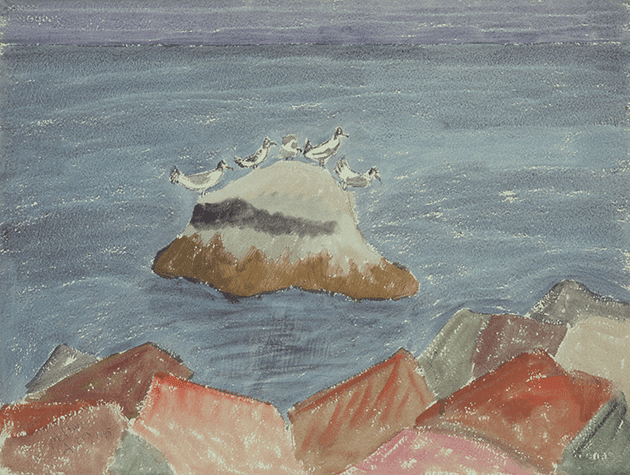 Milton Avery,Roosting Birds or Gulls on a Rock, unknown date, Victoria and Albert Museum, London Bridgeman Images © Milton Avery Trust / Artists Rights Society (ARS), New York and DACS, London 2021