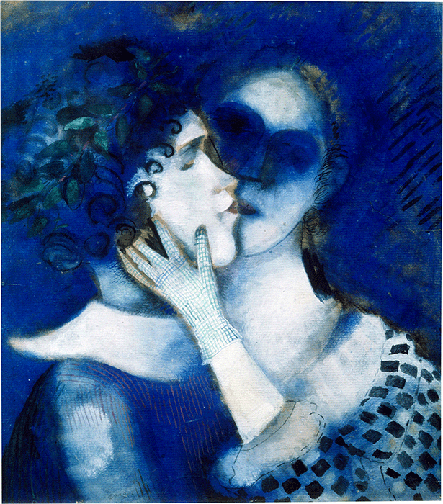 Marc Chagall, Lovers in Blue, 1914, oil on cardboard, Private Collection. Image: Scala, Florence. © ADAGP, Paris and DACS, London 2021.