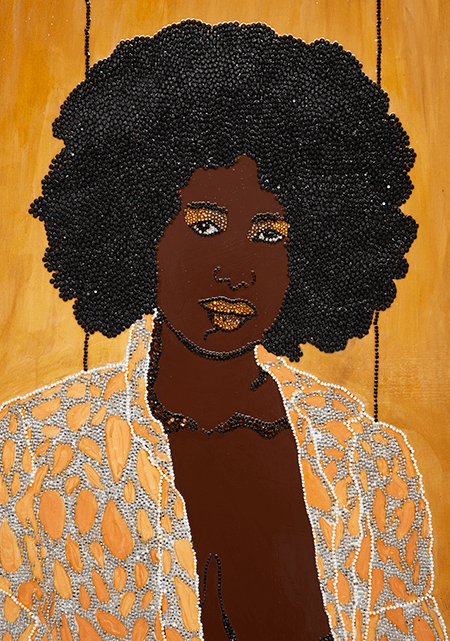 Mickalene Thomas, <em>I've Got it Bad and that Ain't Good</em> from the <em>She Works Hard For the Money Pin-Up</em> series, 2006 (detail)