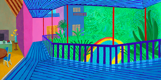 David Hockney, Interior with Blue Terrace and Garden, 2017.
