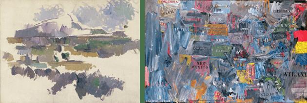 CAPTION: Paul Cezanne, Montagne Sainte-Victoire, 1904-05 Bridgeman Images CAPTION: Jasper Johns, Map, 1963, the Museum of Modern Art, New York