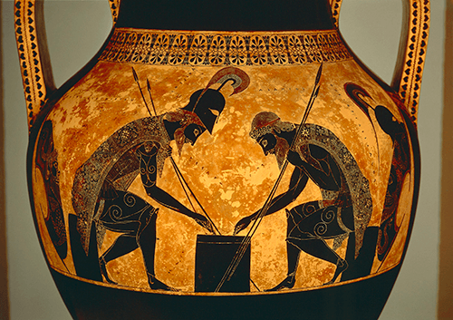 Attic black-figure amphora depicting Achilles and Ajax playing dice, from Vulci, c. 540-530 BC, Vatican Museums and Galleries, Vatican City