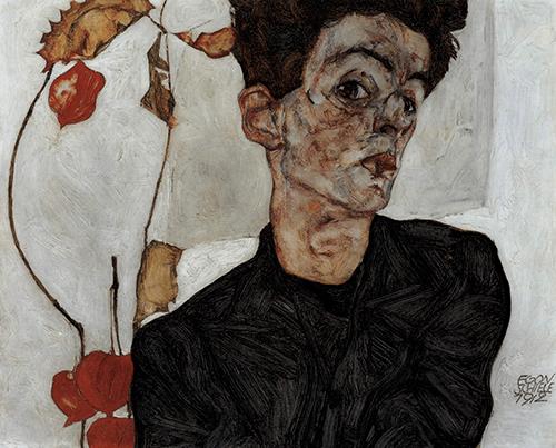 Egon Schiele, Selbstbildnis mit Lampionfrüchten(Self-Portrait with Physalis), 1912, Leopold Museum, Vienna. Photo © Fine Art Images / Bridgeman Images