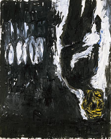 Georg Baselitz, Maler mit Fäustling, 1982, oil on canvas, SKD, Staatliche Kunstsammlungen Dresden. © Baselitz 2020. Image: SKD Dresden, Gercken Stiftung