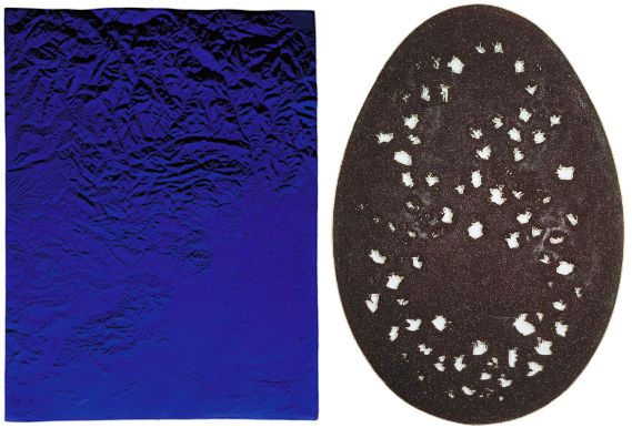 "[left] Yves Klein, Relief Planétaire ""Région de Grenoble"" (RP 10), 1961. Artwork © 2020 Artists Rights Society (ARS), New York / ADAGP, Paris [right] Lucio Fontana, Spatial Concept, The End of God, 1963. Private Collection, Photo credit © DeA Picture Library / Art Resource, NY, Artwork © 2020 Fondation Lucio Fontana/Artists Rights Society (ARS), New York"
