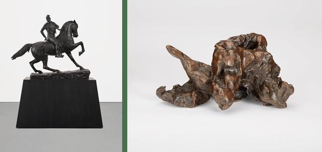 [left] Lot 348, Kehinde Wiley, Rumors of War, 2019. [right] Lot 134, Willem de Kooning, Untitled #4, 1969.