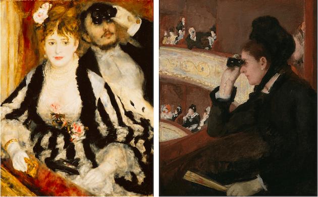 [left] Auguste Renoir,La Loge, 1874. Courtauld Institute Galleries, London, Photo credit: SCALA / Art Resource, NY [right] Mary Cassat,In the Loge, 1878. Museum of Fine Arts, Boston, Photo credit: Sheldon Marshall / Art Resource