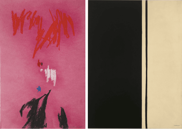 [left] Clyfford Still, PP-2, 1959. Clyfford Still Museum, Denver, Artwork © City and County of Denver / Artists Rights Society (ARS), New York [right] Barnett Newman, Black Fire I, 1961. Private Collection, Artwork © 2020 Barnett Newman Foundation / Artists Rights Society (ARS), New York